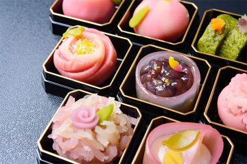Colorful wagashi, traditional Japanese sweets