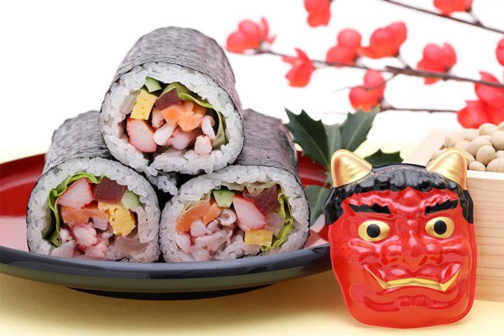 日本傳統節日「節分」的惠方卷和鬼面具